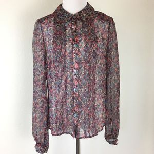 French Connection 100% Silk Shirt Blouse Floral